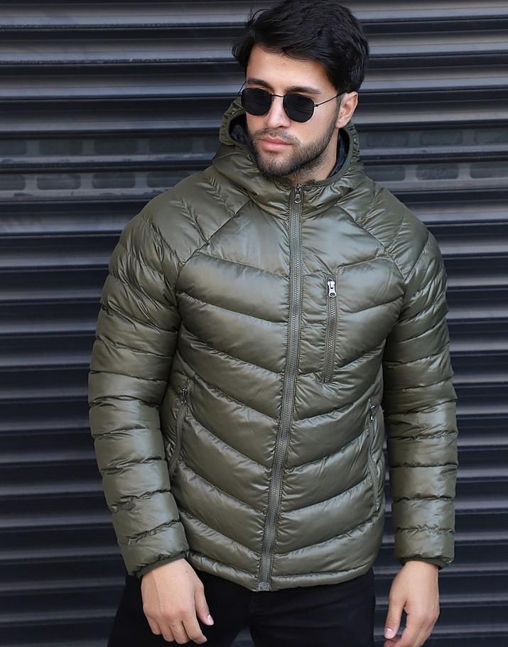 Мужская зимняя куртка теплая с капюшоном Мадрид Хаки Турция. Живое фото. Чоловіча куртка