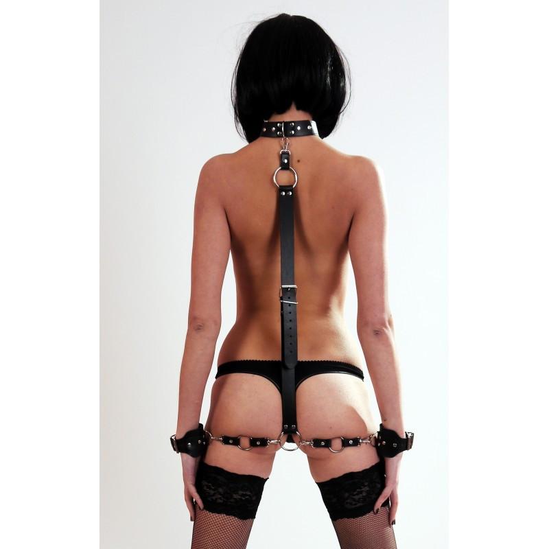 Комплект набір з натуральної шкіри бондаж, нашийник, наручники, ремінь. Бдсм. Для фіксації і зв'язування.. B-3