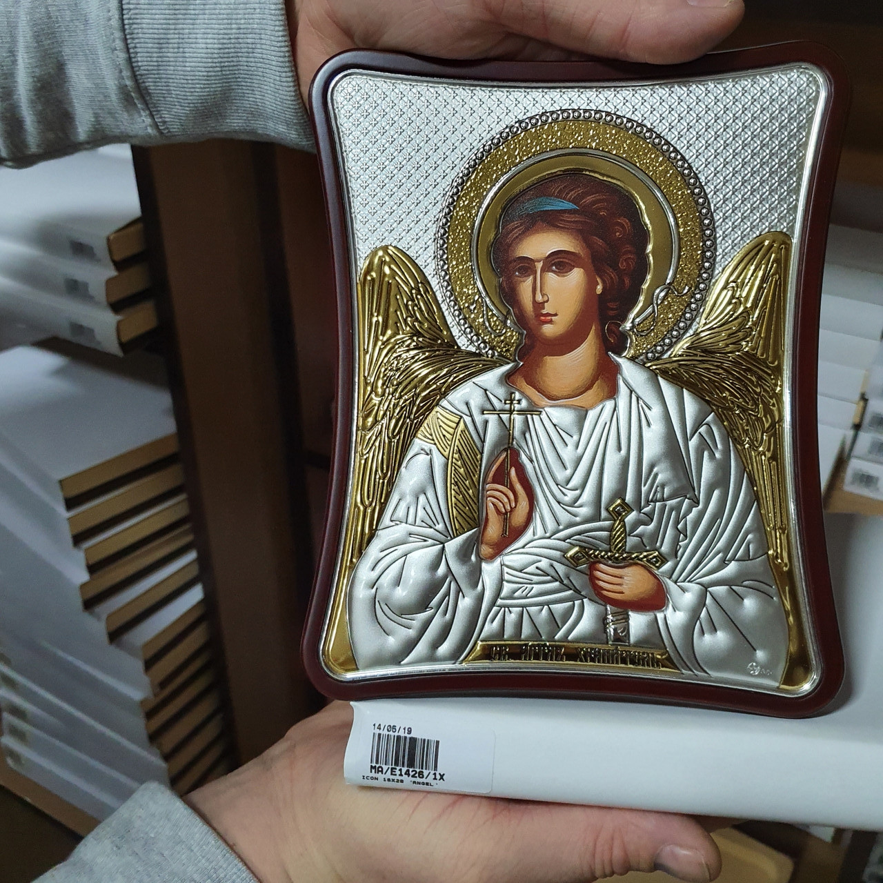Икона серебряная с позолотой Ангел Хранитель открытый лик