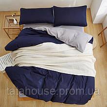 Комплект постельного белья из однотонного сатина, микс синий + серый