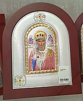 Икона серебряная с позолотой Николай Чудотворец открытый лик в цвете