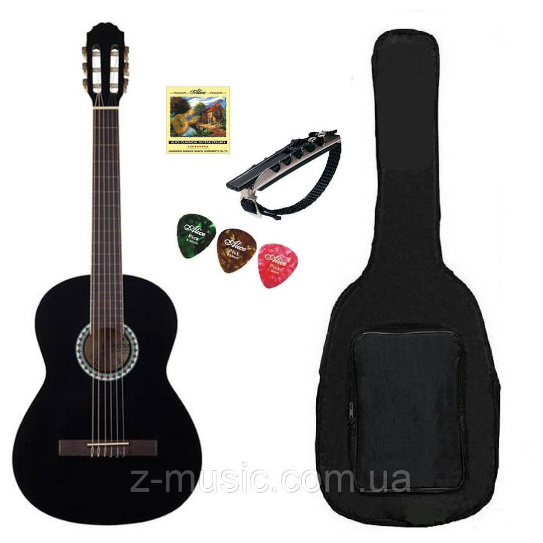 Гитара классическая полноразмерная (4/4) GEWA Konzert Gitarre Black (полный комплект)