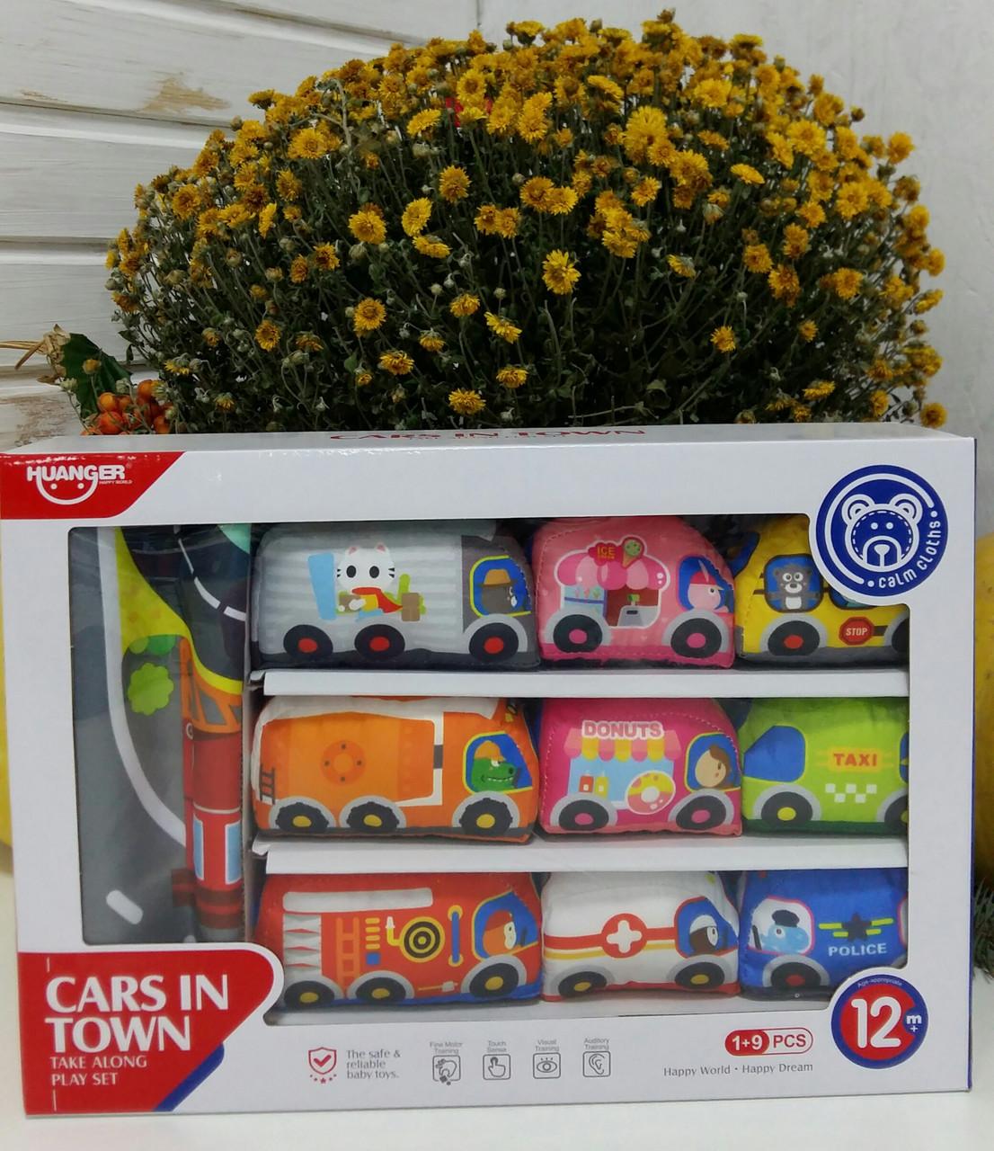 Набор мягких машинок + игровой коврик Huanger Cars in town HE0244