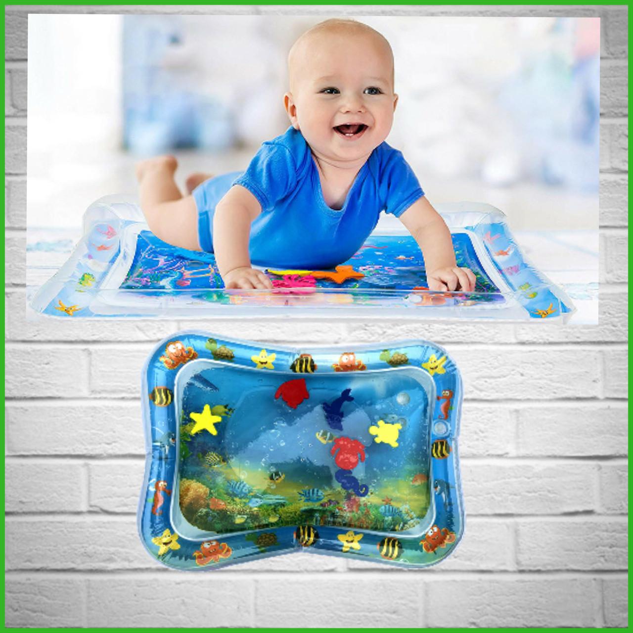 Детский водяной коврик аквариум с рыбками развивающий, акваковрик 65х45см