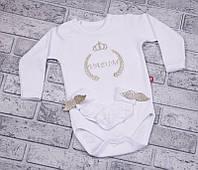 Боди с длинным рукавом+носочки с крылышкам (золото, колоски) 56 Brilliant Baby