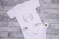 Боди с коротким рукавом+носочки с крылышкам (серебро, колоски без короны) 56 Brilliant Baby