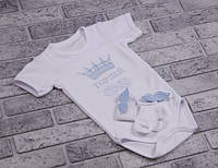 Боди с коротким рукавом+носочки с крылышкам (голубой, корона острая) 56 Brilliant Baby
