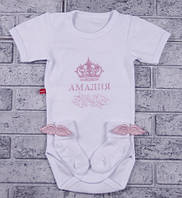 Боди с коротким рукавом+носочки с крылышкам (розовый, корона круглая) 56 Brilliant Baby