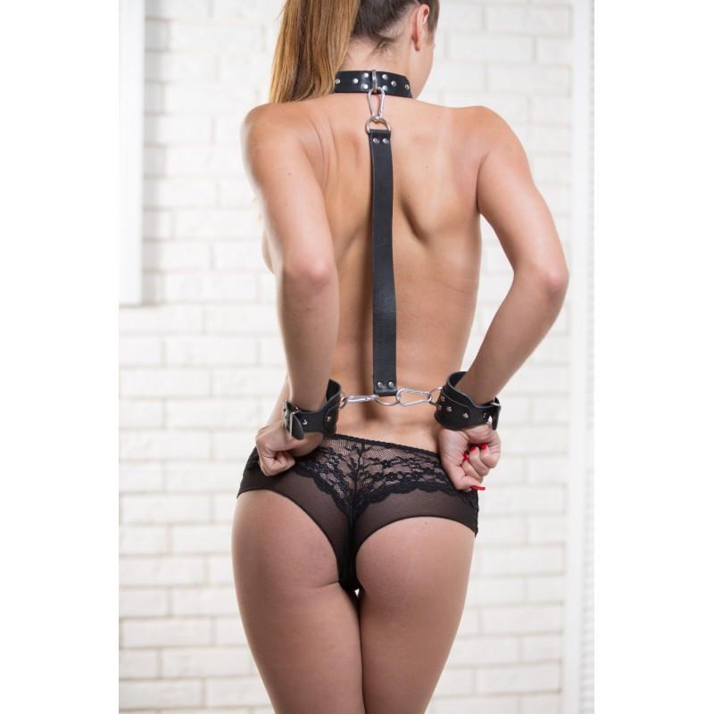 Комплект набор для бондажа из натуральной кожи. Ошейник, наручники, ремень. Для фиксации. Бдсм B-6