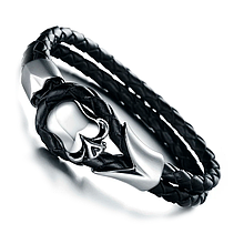 Винтажный кожаный браслет «Asket» 20 см черный