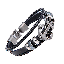 Кожаный браслет «Якорь» 21 см черный