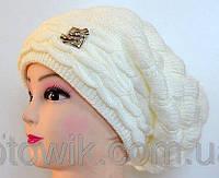 Вязаная женская шапка с бубоном, фото 1