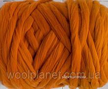 Толстая пряжа для объемного (крупного) вязания. Цвет рыжий.100%  мериносовая шерсть для вязания пледов.