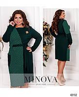 Платье Женское батал №2003Б-зеленый-изумрудный зеленый-изумрудный/50-52