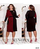 Платье женское большого размера №2003Б-черный-красный черный-красный/50-52
