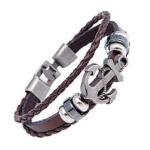 Кожаный браслет «Якорь» 21 см коричневый