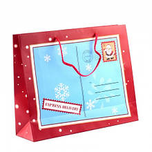 "Пакет паперовий ""Christmas"" 32 х 26 см, червоно-блакитний"