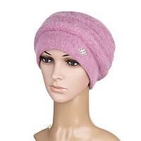 Вязаная женская шапка Darina ангора ягодного цвета, фото 1