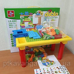 Детский столик для песка и воды, Игровой столик Дупло с конструктором 126 Больших деталей 48х28х27 см LX.A 881