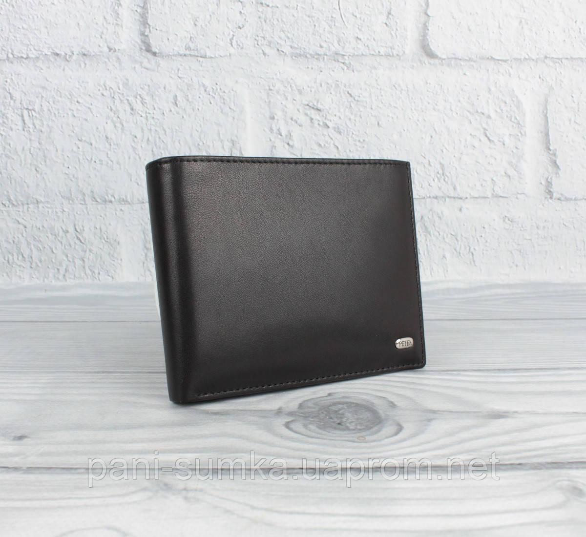 Портмоне, кошелек мужской Petek 1750 черный без застежки, съемный правник