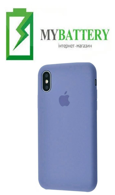 Чехол Silicone Case original (чехол-бампер) iPhone XS Max лавандово-серый (28)