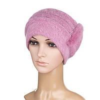 Вязаная женская шапка Anna ангора ягодного цвета, фото 1