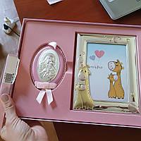 Дитячий набір срібна ікона Богоматері і рамочка для фото два жирафа, фото 1