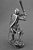 Сувенір сплав олова німецький лицар 14 століття з гербом у вигляді голови вепра з гранд-фальшионом, фото 4