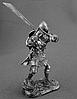 Сувенір сплав олова німецький лицар 14 століття з гербом у вигляді голови вепра з гранд-фальшионом, фото 3