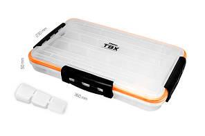 Коробка для риболовлі, коробка Delphin TBX One 360-4P Clip WP 360x230x50mm