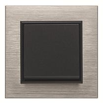 Выключатель 1-кнопочный однотактный Lumina черный 10АХ/230В, фото 3