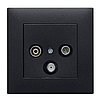 Выключатель 1-кнопочный однотактный Lumina черный 10АХ/230В, фото 4