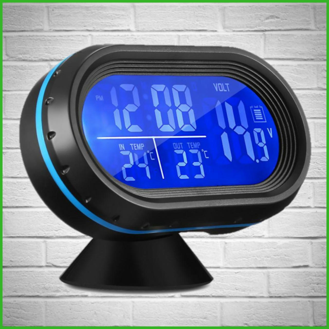 Автомобільні годинник з термометром і вольтметром VST 7009V