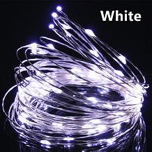Светодиодная гирлянда нить, проволка, на батарейках 10 м., White, белый