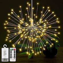 Светодиодный светильник LED золото водонепроницаемый, на батарейках АА, медный провод