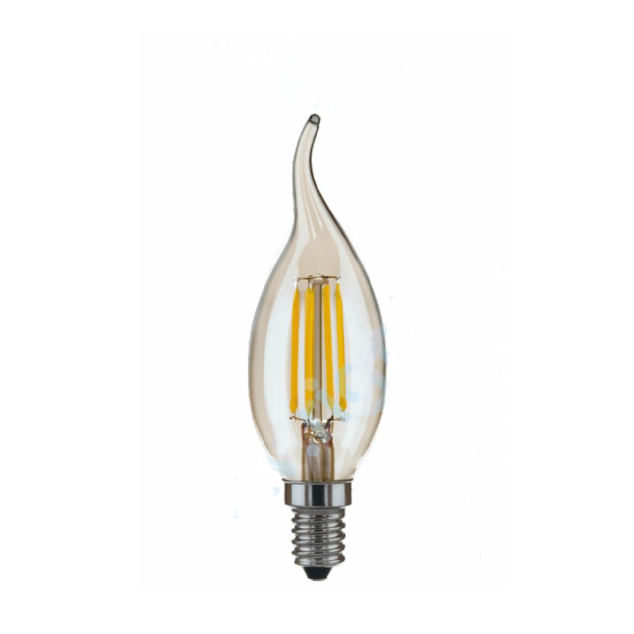 Лампа LED Platinum Filament Свічка на вітрі 6W E14 4000K, золота C35T RIGHT HAUSEN