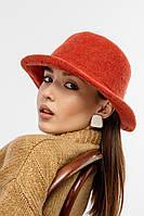 Женская фетровая панама терракотового цвета