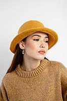 Женская фетровая панама желтого цвета