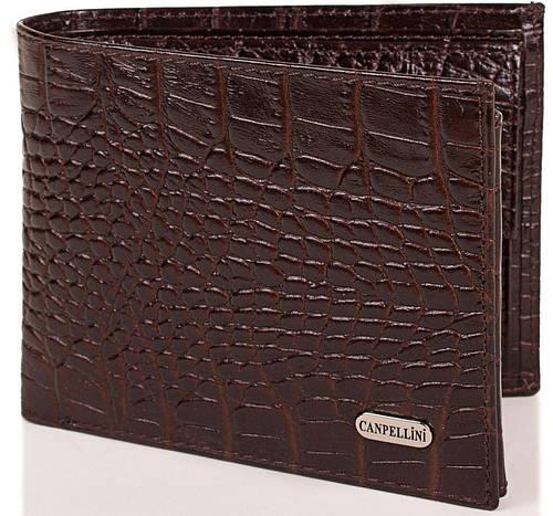 Вместительный мужской кожаный кошелек CANPELLINI (КАНПЕЛЛИНИ) SHI104210-brown (коричневый)