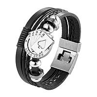 Шкіряний браслет «Full House» 21 см чорний