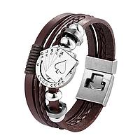 Шкіряний браслет «Full House» 21 см темно-коричневий