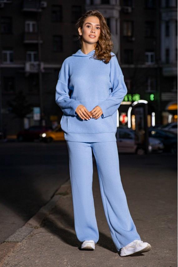 Модний теплий в'язаний костюм оверсайз з капюшоном 42-48 розмір Блакитний