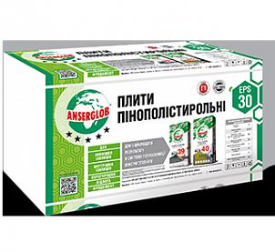 Плиты пенополистирольные ANSERGLOB EPS - 30, 10*100*100см (6шт/уп)