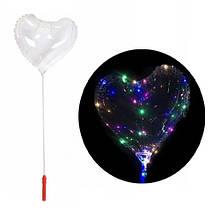 5x Шарик воздушный надувной сердце светящийся с LED-подсветкой, 45 см