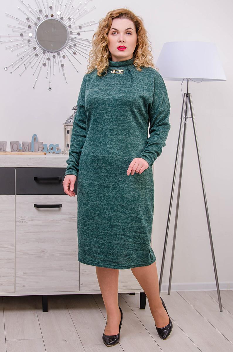 Платье с ангоры размер плюс Коко малахит (52-64)