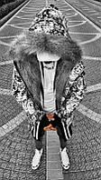 Удлиненная мужская теплая куртка-парка Open белая с черным (Турция) - S, M, L, XL