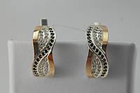 Серьги из серебра с золотом и фианитами