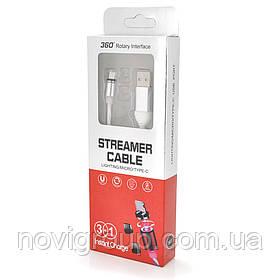 Магнітний кабель світиться USB 2.0 / Micro, 1m, 2А, Silver, OEM