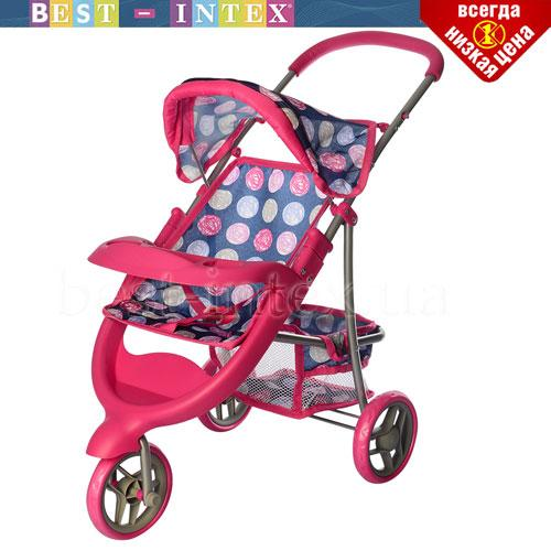 Коляска 9614 MELOGO для куклы розовая в синий кружочек