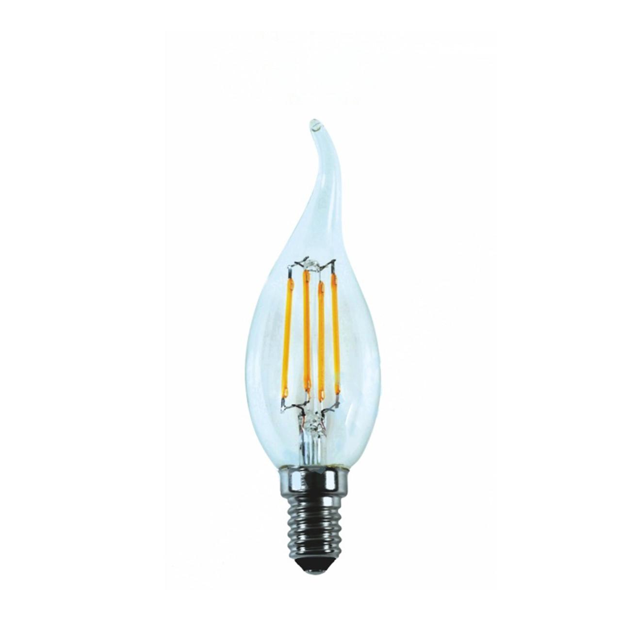 Лампа LED Platinum Filament Свічка на вітрі 6W E14 4000K, прозора C35T RIGHT HAUSEN